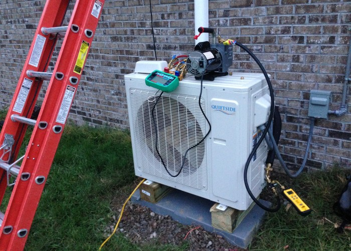 Evacuating an inverter mini split heat pump.