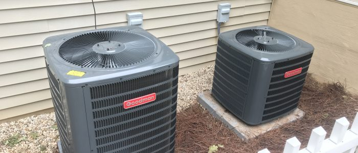 A couple of Goodman air conditioners that we installed for a tellico Village customer.